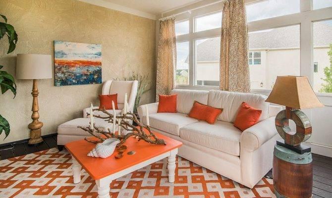Beachy Tropical Style Sunroom Orange Decoist