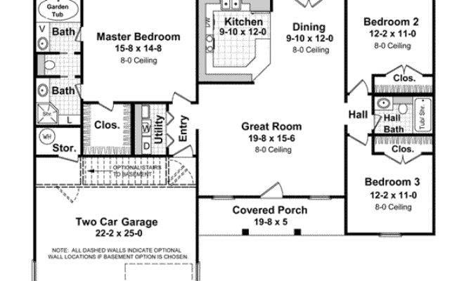 Beautiful Bedroom Ranch Floor Plans Hall Kitchen