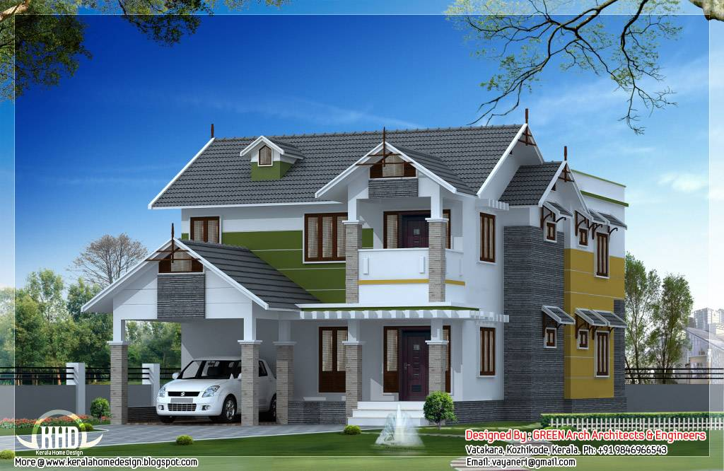 Beautiful Sloping Roof House Design Kerala Home House Plans 166963
