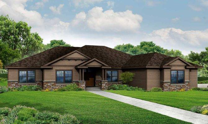 Bed Craftsman Style Ranch Home Plan