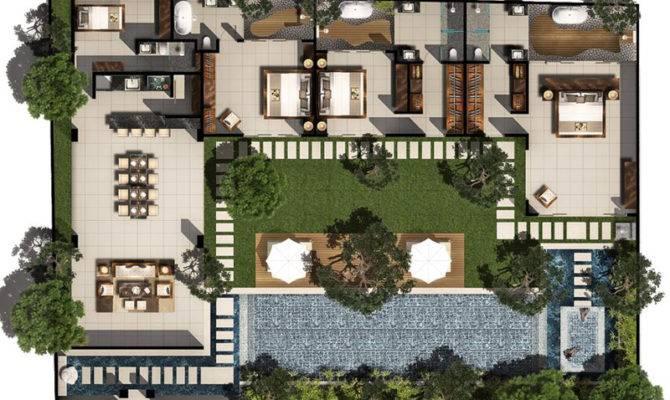 Bed Pool Villa Floor Plan Chandra Bali Villas House Plans 101680
