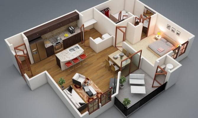 Bedroom Apartment Plans Modern Balcony