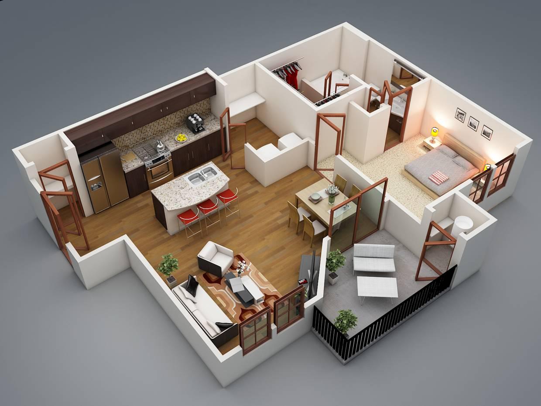 Bedroom Apartment Plans Modern Balcony House Plans 81454