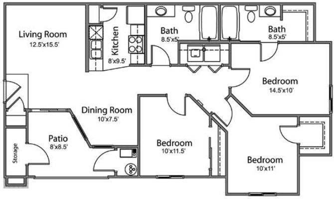 Bedroom Bath Apartment Floor Plans Hobbylobbys Info