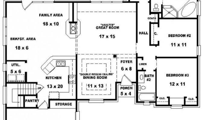Bedroom Bath House Plan Plans Floor Bathroom Open