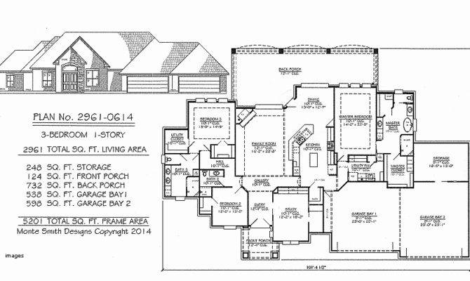 Bedroom Car Garage Ranch House Plans Savae