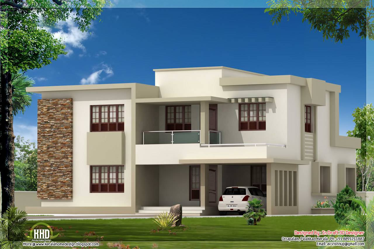 Bedroom Contemporary Flat Roof Home Design House Plans 77887