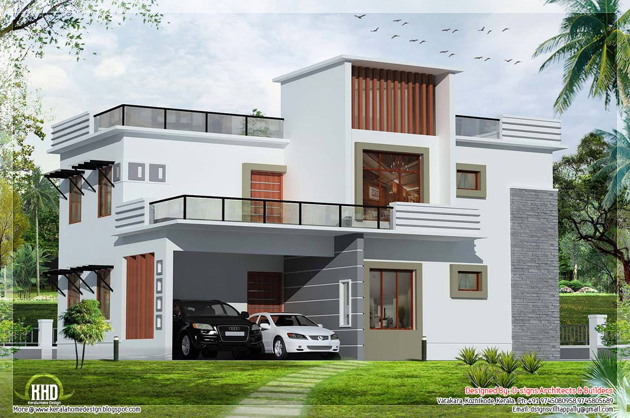 Bedroom Contemporary Flat Roof House Home Sweet House Plans 15509
