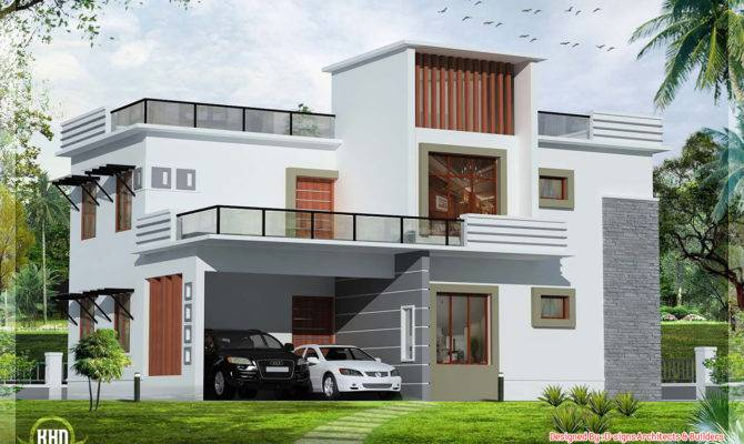 Bedroom Contemporary Flat Roof House Kerala Home