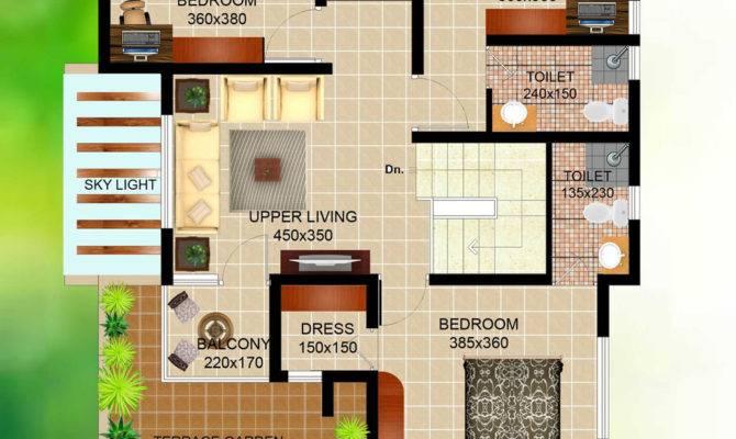 Bedroom Contemporary Villa Elevation