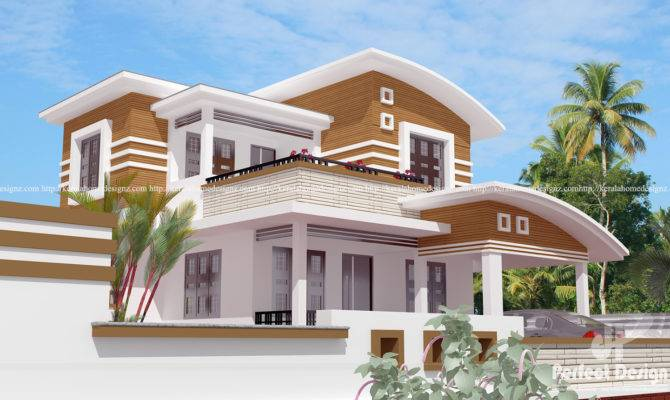 Bedroom Curved Roof Mix Contemporary Home Kerala
