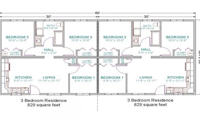 Bedroom Duplex Floor Plans Garage