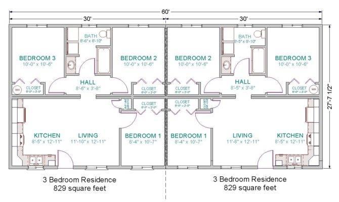 Bedroom Duplex House Plans Garage