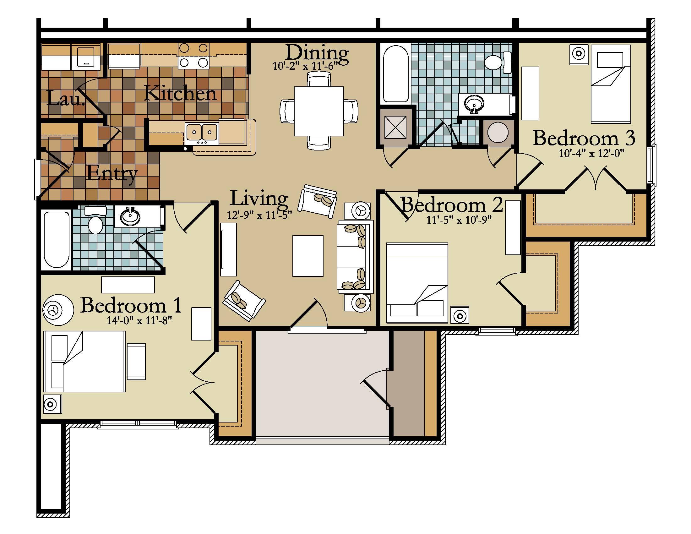 Bedroom Flats Floor Plans Home Deco House Plans 98688