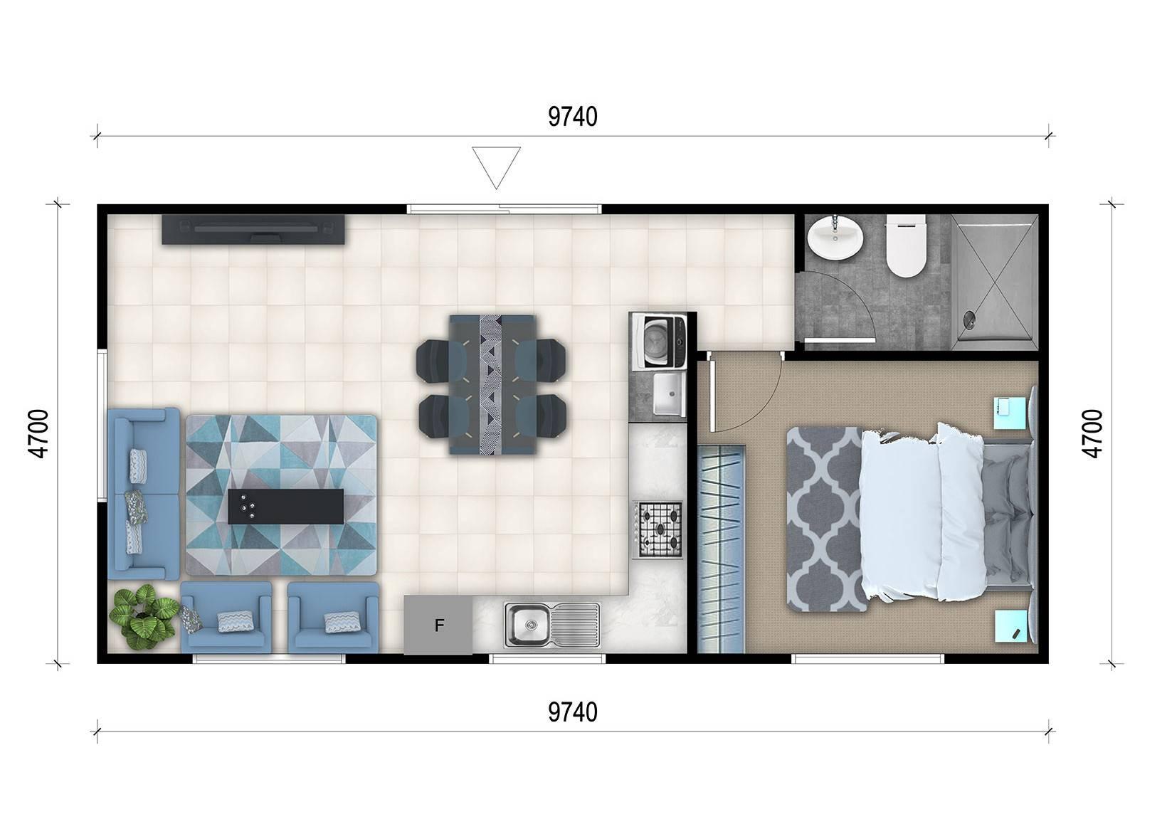Bedroom Granny Flat Designs - House Plans  #9