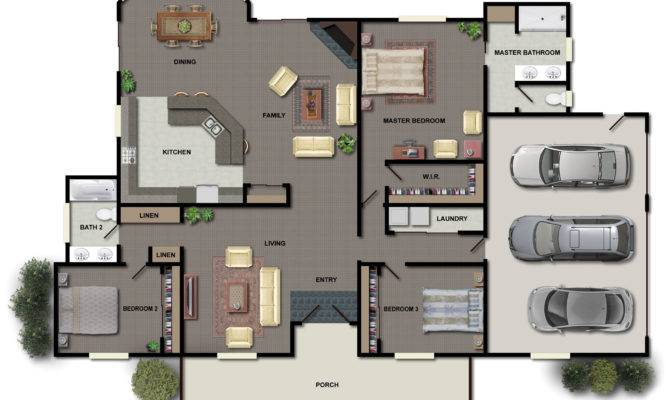 Bedroom House Floor Plans Small Three Home