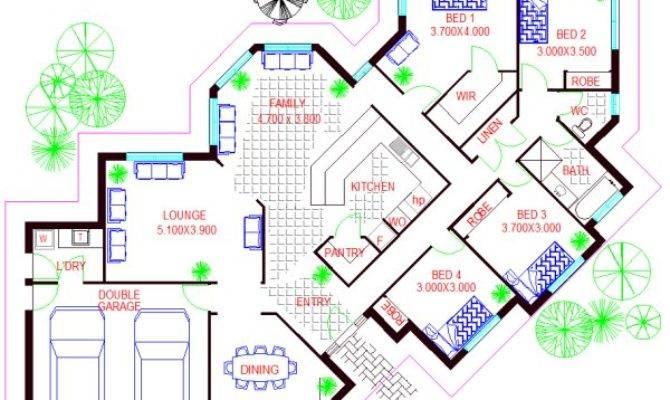 Bedroom House Plans Bed Corner Block Plan