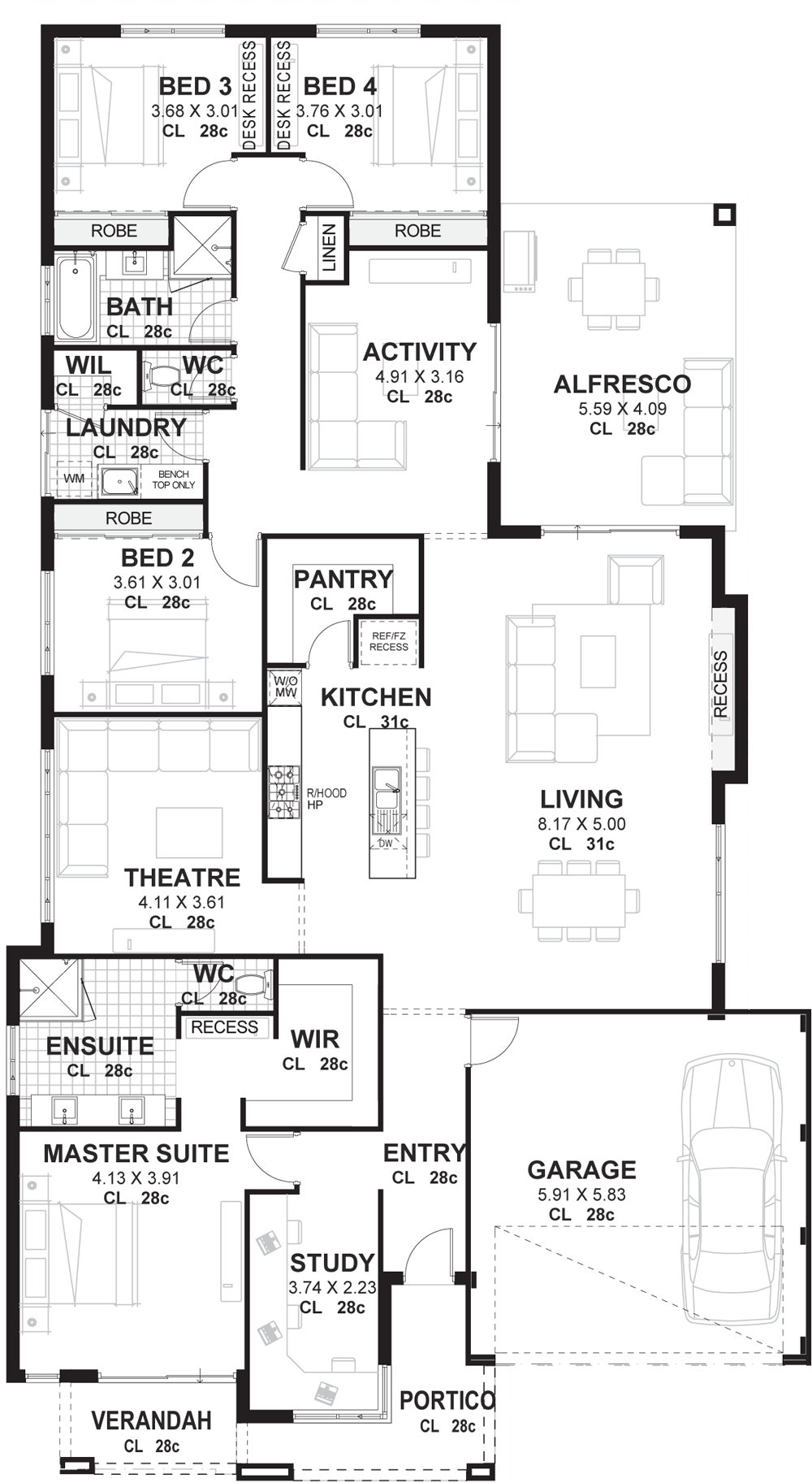 Bedroom House Plans Home Designs Perth Vision One Homes House Plans 108444