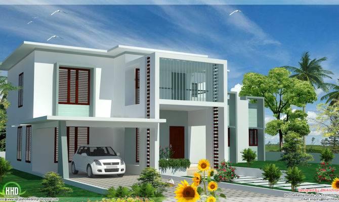Bedroom Modern Flat Roof House Kerala Home Design Floor Plans