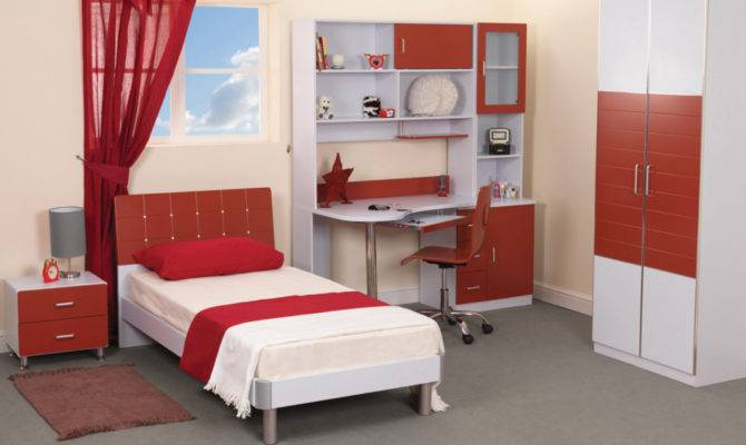 Bedroom Modern Teenage Design Red White Theme