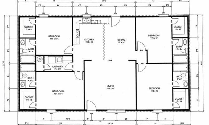 Bedroom Rectangular House Plans Redglobalmx