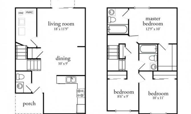 Bedroom Townhouse Floor Plans Garage Imgkid