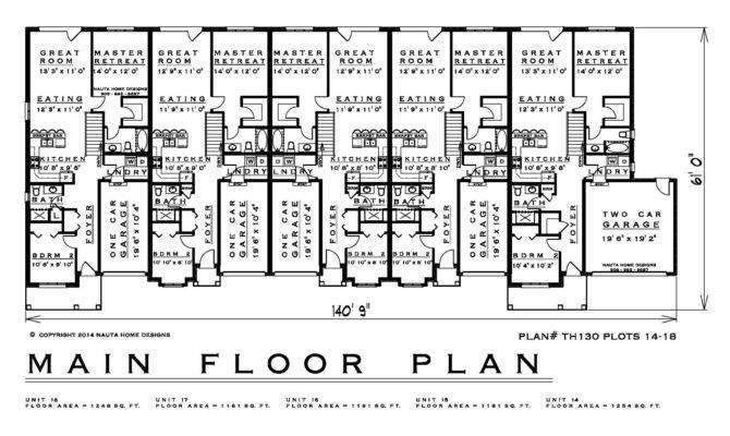 Bedroom Townhouse House Plan Feet