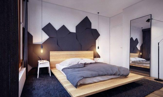 Beige Wooden Floating Beds Frame Dark Grey Fur Rug