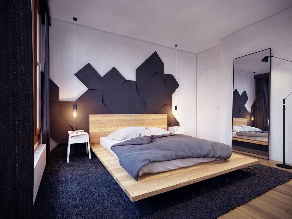 Beige Wooden Floating Beds Frame Dark Grey Fur Rug House Plans 90262