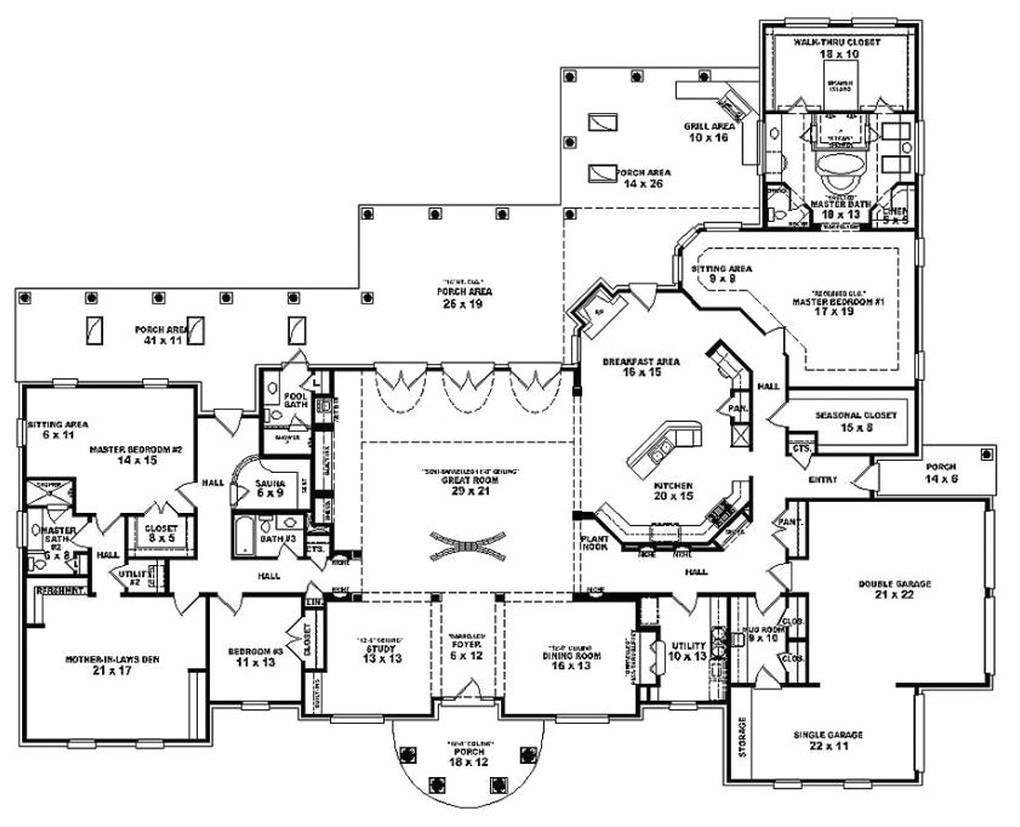 Best House Plans Bedroom Single Story Spanish House Plans 124572