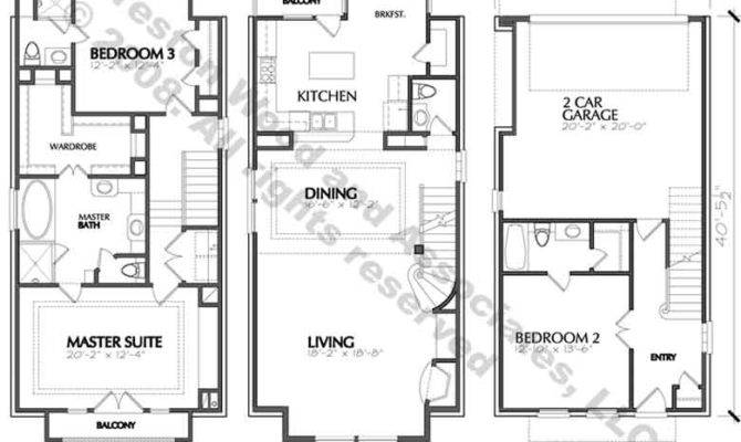 Best Townhouse Plans Townhome Blueprints Narrow Residential Town