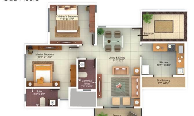 Bhk Flat Design Plans Floor Plan