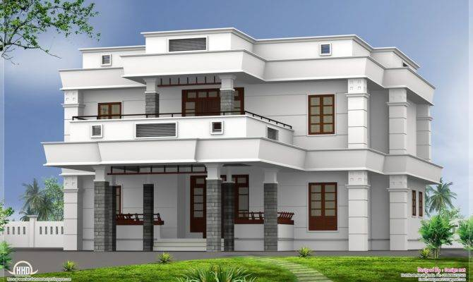 Bhk Modern Flat Roof House Design Home Kerala Plans House Plans 77869