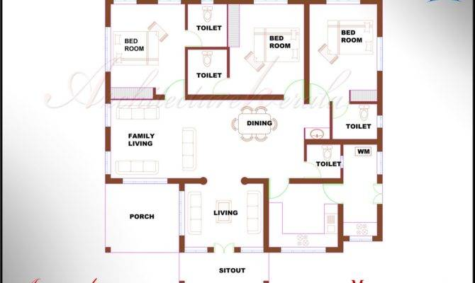 Bhk Single Floor Kerala House Plan Elevation