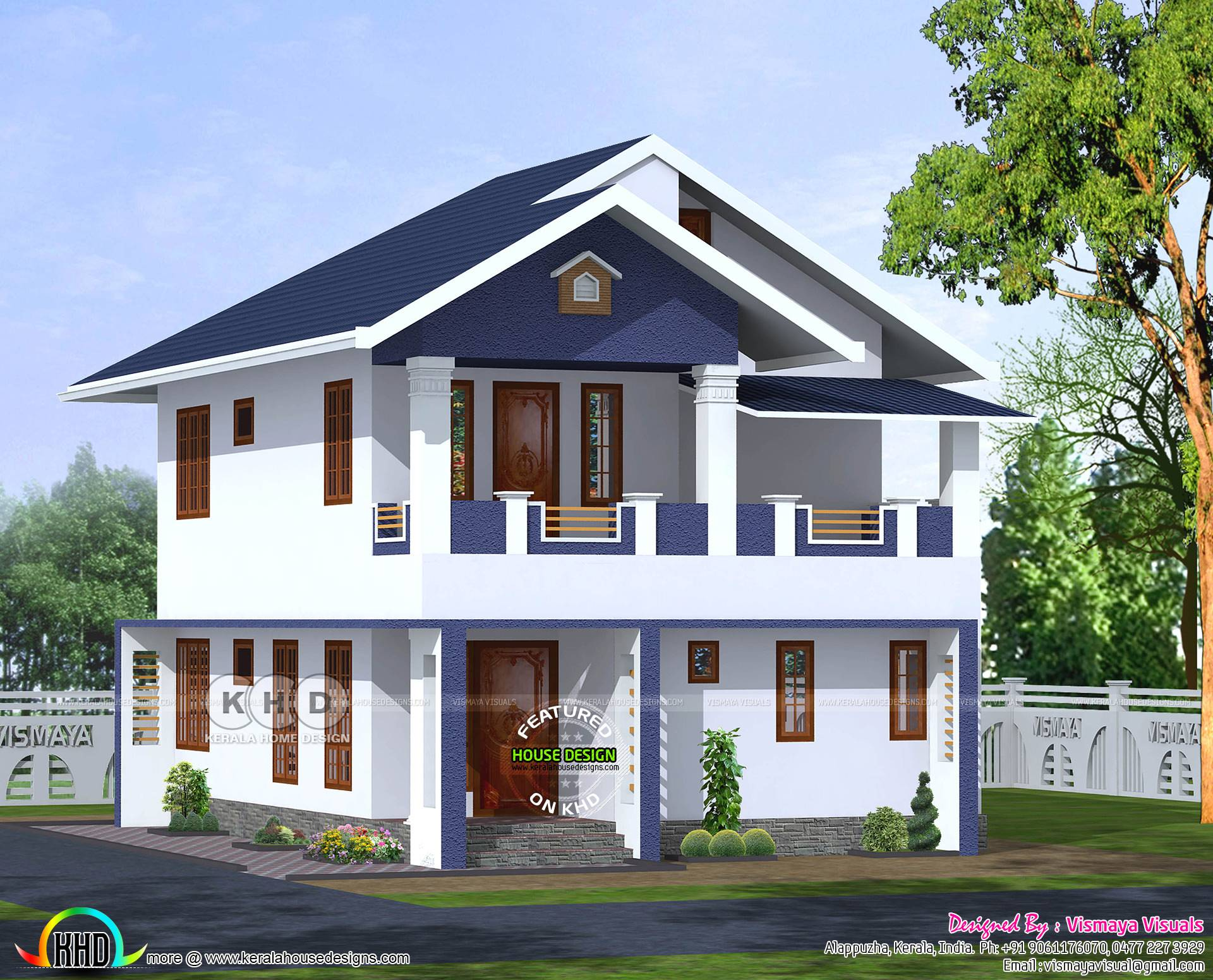 Bhk Sloped Roof House Architectcure Kerala Home Design House Plans 127798