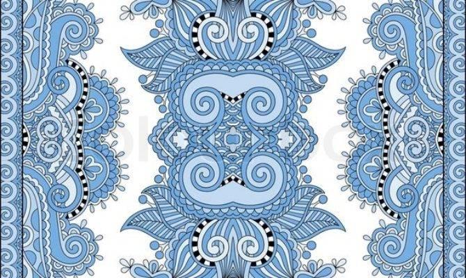 Blue Colour Ukrainian Floral Carpet Design Print