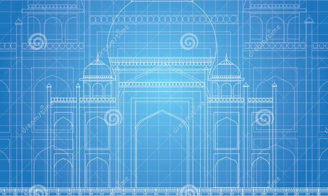 Blue Print Taj Mahal Illustration