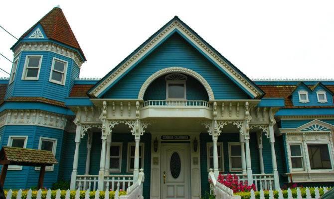 Blue White Classic Victorian House Cambria Californi