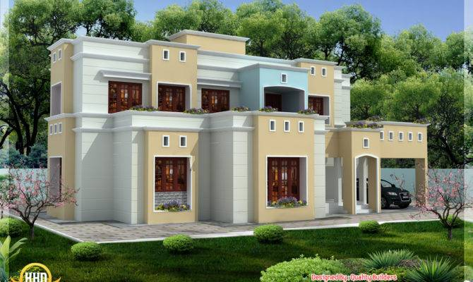 Box Shaped Flat Roof Home Design Kerala Floor Plans