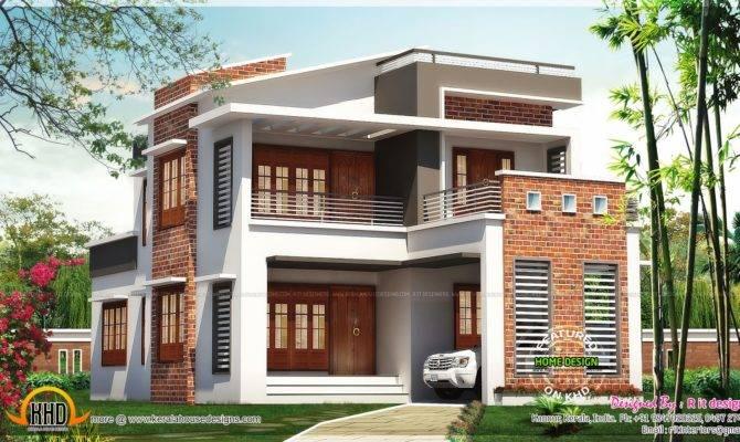 Brick Mix House Exterior Design Kerala Home