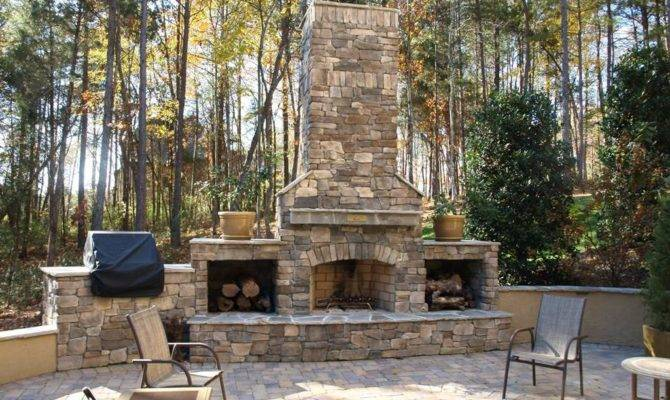 Brick Outdoor Fireplace Plans Design Ideas