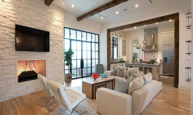 Brick Wall Living Room Open Kitchen