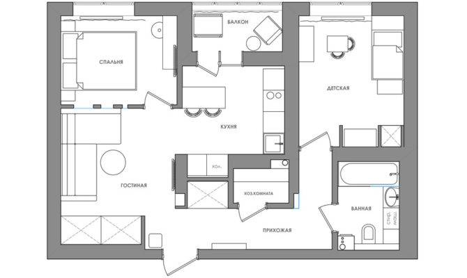 Bright Compact Bedroom Apartment Young Floor Plan