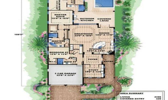 Bungalow Narrow Lot House Plan Beach