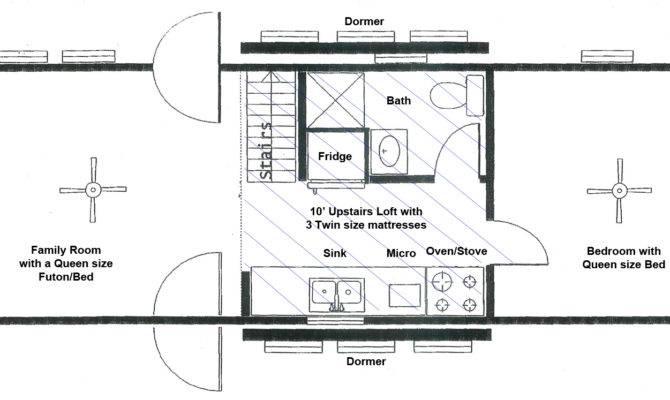 Cabin Layout Below Diagonal Lines Designate Loft Area