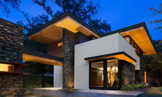 Cantilevered Modern Home Stacked Stone Triptych