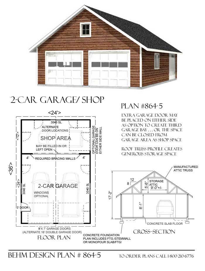Car Attic Garage Plan Shop Back House Plans 178185