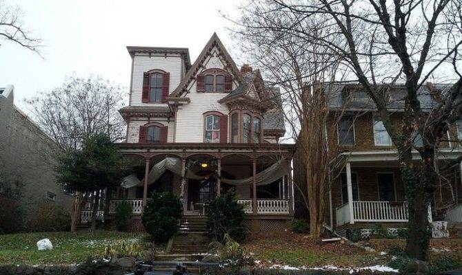 Carpenter Gothic Style Wooden House Seen