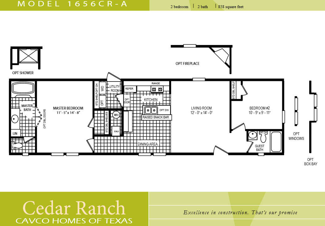 Cavco Homes Floor Plan Bedroom Bath Single Wide House Plans 230