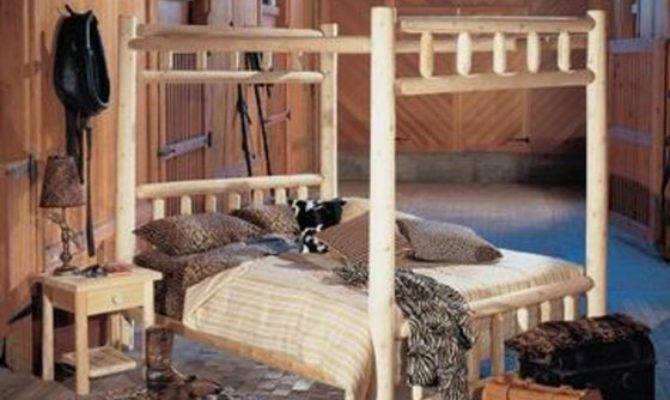 Cedar Log Style Wooden Handcrafted Queen Canopy Bed